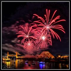 Fireworks_7685 (bjarne.winkler) Tags: 2017 new year firework over sacramento river with tower bridge ziggurat building background
