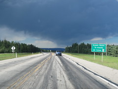 """Sign that claims Hwy 40 (in Alberta) is a """"Scenic Route to Alaska"""" (jimbob_malone) Tags: 2017 highway16 alberta"""