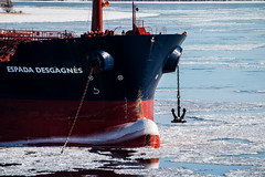 Port anchor sighted and clear (langdon10) Tags: canada canon70d espadadesgagnes ice quebec ship stlawrenceriver tanker anchor cold nautical outdoors seaice winter