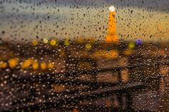 One rainy day in Paris (simondegraipe) Tags: paris eiffel tower night nuit roofs toits france rain pluie blur flou sunset soirée