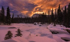 Natural Bridge at Sunrise (Yoho NP, BC Canada). It was a cold frosty morning. (Sveta Imnadze) Tags: sunrise sky clouds colors winter landscape naturalbridge yohonp britishcolumbia canada snow frost