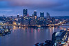 Pittsburgh in its blue hour morning glory (Surya Laveti) Tags: pittsburgh west end overlook morning cityscape landscape downtown skyline blue hour winter