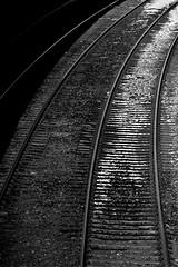 Curve (ronaldthain) Tags: 300mm145mc aviemore bw c41 cairngormsnationalpark highlandsofscotland minolta rokkor scotland scottishhighlands strathspey uk analogue colourfilm developer film lens perspective rails railway railwaystation station telephoto tracks transport