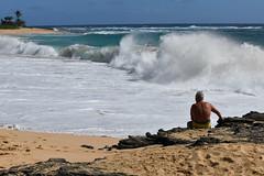 Man Watching Surf at Sandy Beach (trailwalker52) Tags: hawaii oahu sandybeach surf waves breaking crashing wavebreaking wavesbreaking wavescrashing wavecrashing