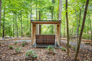 Wooden gazebo structure amongst the woods, a landscaping project for Walter Reed Hospital, Bethesda, Maryland. .