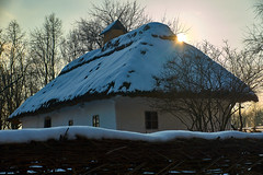 From behind the roof (Marat Assanov) Tags: kyiv pirohiv ukraine outdoor country winter ethno sky trees