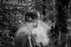 (R:v) Tags: france français finistère forest man human smoke smoker fog portrait bretagne brest bw blackwhite three