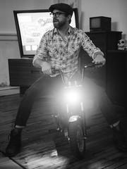 Jon (BurlapZack) Tags: olympusomdem5markii panasonicleicadgsummilux25mmf14 vscofilm pack06 dallastx southsideatlamar scooter fridaythe13th halloween halloweenparty bw mono monochrome portrait headlight loft apartment livingroom television tv bike biker ruckus electricscooter movie cinematic plaid availablelight handheld lowlight highiso scootin goofin microfourthirds
