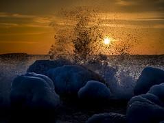 Earth, wind and fire (Samuli Koukku) Tags: landscape lauttasaari nature sunset sea balticsea helsinki finland north ice water rock
