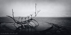 The Sun Voyager, Iceland (ambeizzi) Tags: sun voyager iceland viking ship monochrome black white water sea bones boat canon january reykjavic