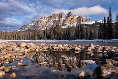 Golden Ramparts Reflected (Kristin Repsher) Tags: castlemountain winter canada bowriver castlejunction reflections alberta nikond750 banffnationalpark workshop canadianrockies ice banff mountains nikon rockies rockymountains ca