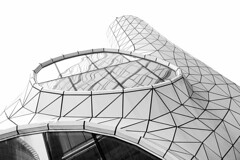 igloo style (Fotoristin - blick.kontakt) Tags: poland warsaw architecture blackandwhite front bar lines curves abstract circle window reflections geometry igloostyle fotoristin