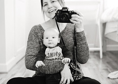 in which we celebrate another year (manyfires) Tags: me self selfportrait photographer elliot baby babyelliot bw blackandwhite nikonf100 film analog bedroom home house portrait peoplescape mirror birthday valentine birthentine mom son child infant mother boy