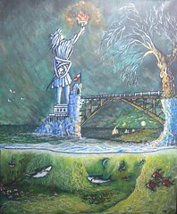 UNDER THE SURFACE. (tomas491) Tags: sharks fish underwater bridge tree seagulls waves flambeau statue boats flags tower acrylic painting fantasy moon