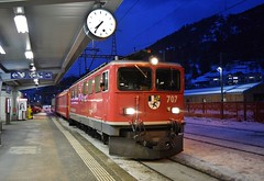 Time to go home_RhB Ge6/6 locomotive_Ilanz, Switzerland_271217_01 (DS 90008) Tags: rhb ge66 locomotive locohauled railway railtransport ilanz electrictraction electricloco station bahnhof train snow winter rollingstock chur switzerland swissrailways swissalps