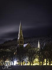 Silent Night (Scotty Rae) Tags: peebles scotland tweeddale peeblesshire tweedgreen valley trees night snow winter church tower scottishborders