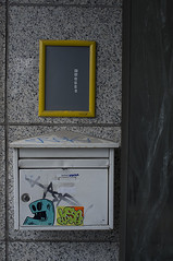 Geheimcode // Secret Code (apfelbla) Tags: wall wand haus house eingang entrance briefkasten mailbox marmor marble foil folie street strase urban stadt city drausen outside upright hochformat sticker tag obama number numbers weird seltsam