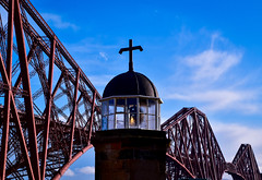 The lighthouse and the Forth Bridge (rustyruth1959) Tags: nikon nikond5600 tamron16300mm uk fife scotland northqueensferry townpier lighthouse lighttower tower queensferrypassage forthbridge bridge robertstevenson theforth light structure building architecture engineering smalllighttower sky clouds blue outdoor dome alamy