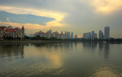 Golden Kallang Sunset (henriksundholm.com) Tags: sunset city urban cityscape skyline kallang river reflections clouds cloudy humid goldenhour stadium hdr trees costarhu tanjongrhu landscape scenery singapore southeast asia