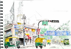 Bengalore,  India (Croctoo) Tags: croctoo croctoofr croquis crayon aquarelle watercolor india bengalore ville