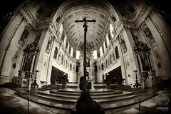 Sacred MUNICH: St. Michael's - the cross (mkarwowski) Tags: church munich travel fisheye canon eos 80d monochrome sepia canoneos80d eos80d samyang samyang8mmf35umcfisheyecsii