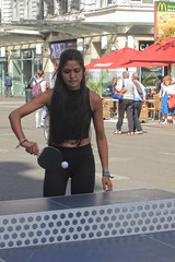 Keeping Her Eye On the Ball (Viejito) Tags: tabletennis pingpong backhand table paddle rubber covered racket ball boulevardanspach anspachlaan grétry vlaams brabant belgië belgique belgien belgium brussel brussels bruxelles be b vlaamsbrabant vlaanderen flanders canon powershot s100 canons100 tan girl young woman brunette tights bare midriff pierced navel piercing geotagged geo:lat=50849254 geo:lon=4350711 ベルギー wicker chairs cocacola mcdonalds maisonsdumonde casino dkny