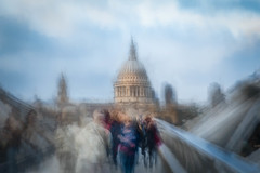St Paul's Cathedral from the Millennium Bridge (RCARCARCA) Tags: thames cathedral photoartistry canon orange clouds blue stpauls london river sunlight sky 5diii acqua riverthames yellow 2470l milleniumbridge
