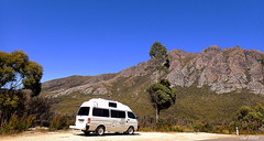 WE HAD TO STOP TO TAKE IN THE VIEW (Lani Elliott) Tags: nature photography landscape view scene scenic scenictasmania southwesttasmania mountain vehicle campervan trees bluesky sky awesome excellent beautiful wonderful composition gorgeous