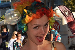 Clowning (railfan3) Tags: adelaidefringe2018 fringeparade smilinggirls cheesysmile adelaide northterrace girls colorfulcolourfulgirls adelaideevents southaustralia girlassistant girlclown colorfulwig bubbleshow iuliabenze