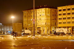 Cleaning up after market (Edwin Verhulst) Tags: empty evening outdoor winter italy bologna piazza trash litter cleaning market