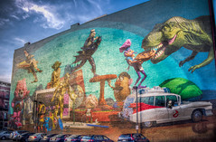Cincinnati Toy Heritage (donnieking1811) Tags: ohio cincinnati art mural painting toys kennertoys batman yoda mrpotatohead r2d2 cp3o building wall outdoors sky blue clouds cars hdr canon 60d lightroom photomatixpro