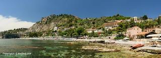 Panorama of La Isla Bella, Taormina, Sicily, Italy