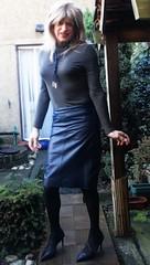 Lovely Skirt :-) (Amber :-)) Tags: navy leather pencil skirt tgirl transvestite crossdressing