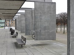 Urban Illusion (Compactman) Tags: urban bench slab concrete illusion magic hanging london excel panasonic lumix g7