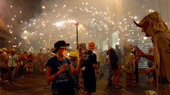 Street fireworks, Spain (M McBey) Tags: festival fireworks spain embers excitement danger tradition street nikon d7100