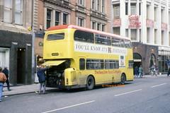 """Now, what have we got going on under here?"" (SelmerOrSelnec) Tags: beeline leyland atlantean alexander yds651s manchester oldhamstreet breakdown grahampaisley bus"