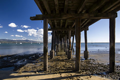 Wooden Pier & Low Tide (milton sun) Tags: woodenpier pier tide mavericksbeach halfmoonbay california bridge seascape bay ngc bayarea wave ocean shore seaside coast westcoast pacificocean landscape outdoor clouds sky water rocks mountains rollinghills sea sand beach cliff