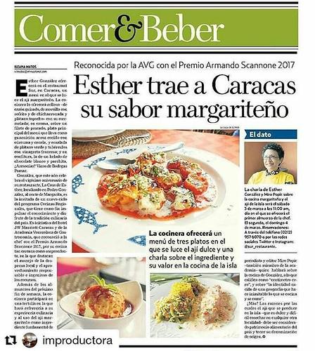 #Repost @improductora (@get_repost) ・・・ Hoy cumple años mi querida Esther González, que también celebra los 20 de su restaurante, @lacasadeesther, en Pedro González, y es protagonista de Comer&Beber, que reseña el magnífico menú en el que se luce el ají m
