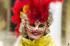 Carnival faces (Alessandro Giorgi Art Photography) Tags: carnival faces carnevale facce maschere girl donna woman colori colors rosso giallo red yellow venice venezia italy italia outdoor nikon d7000