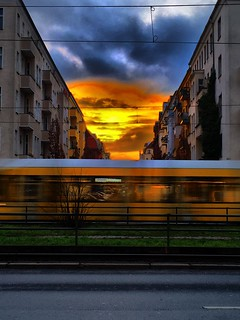 Berlin at the early morning with the rush hour motion blur