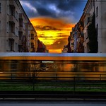 Berlin at the early morning with the rush hour motion blur thumbnail