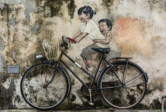 Children on Bicycle (pietkagab (on the road)) Tags: penang street art childrenonbicycle children kids bicycle bike mural famous old town painting wall malaysia malay chinese pietkagab photography pentax piotrgaborek pentaxk5ii travel trip tourism sightseeing asia asian southeast