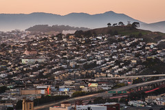over the avenue (pbo31) Tags: sanfrancisco california nikon d810 color february 2018 winter boury pbo31 city urban bayarea over view bayview bayviewpark sunset shadow rooftops 101 highway traffic roadway bernalheights lightstream neon theater sign avenue