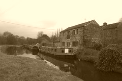 Cottage and barges at Apperley Bridge   Leeds & Liverpool Canal (dave_attrill) Tags: apperleybridge moored barge cottage leeds liverpool canal kirkstall forge 3rise lock towpath footpath cyclepath path armley west yorkshire lancashire bradford wigan longbotham brindley coal textiles limestone trade industry pennines granary wharf 127 miles