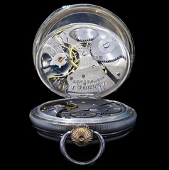 A reflection of time. (susie2778) Tags: olympus omdem1mkii 60mmmacrof28 reflection pocketwatch mechanical movement macro studio silver hallmarked waltham dennisoncase