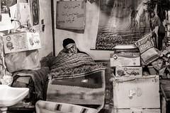 Sleep of the Just (Tom Levold (www.levold.de/photosphere)) Tags: fuji fujixpro2 isfahan xf35mm street esfahan sw people candid bw bazaar basar schlaf sleep vendor händler