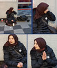 Everyday is the Same (Kombizz) Tags: 1559382 kombizz london 2017 mobilephonetaking mobilephonecapture dailybegginglifecycle scarf veil muslimah beggar shopping shoulderbag easterneurope busstop brownscarf refugee beggingposture everydayisthesame