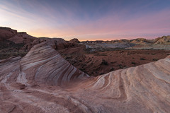 Soft Sunrise at the Fire Wave (Kurt Lawson) Tags: clouds copyrighted desert fire mojave nevada park red ripples sandstone state sunrise valley valleyoffire wave whitedomes