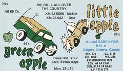 Green Apple & Little Apple - Clagary, Alberta (73sand88s by Cardboard America) Tags: qsl cb cbradio vintage qslcard alberta