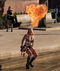 Breathing fire. (Alex-de-Haas) Tags: weareattitude 70200mm atak attitudeholland attitudefest dragongirls dutch enschede holland nederland nikond5 thenetherlands alternatief alternative attitude clothing community evenement event expressie expression fashion fest festival fire firebreather firedancers girl goth gothic grunge kleding lifestyle look meisje mode party punk rock rockabilly style tattoo underground vintage vuur vuurspuger